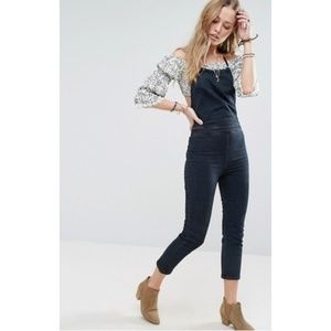 NWT Free People Hearts on Fire Denim Halteralls
